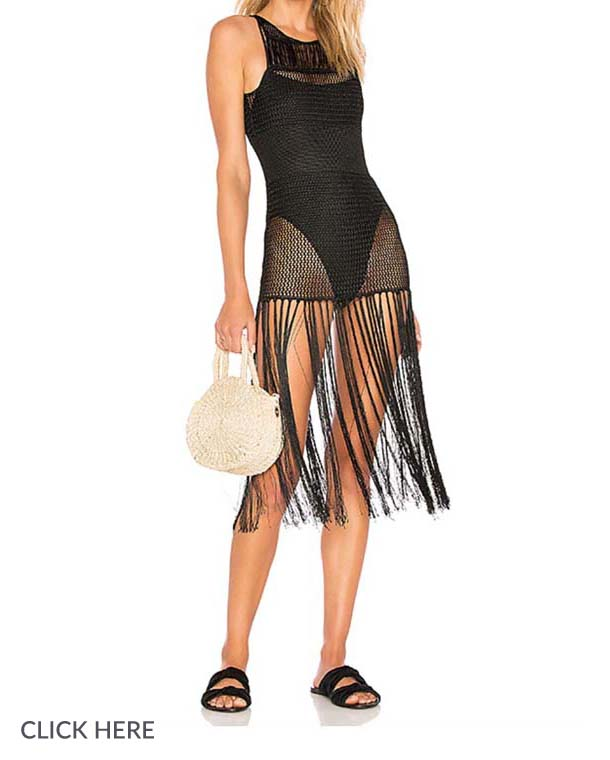 Lauren Nicolle Black Fringe Cover Up