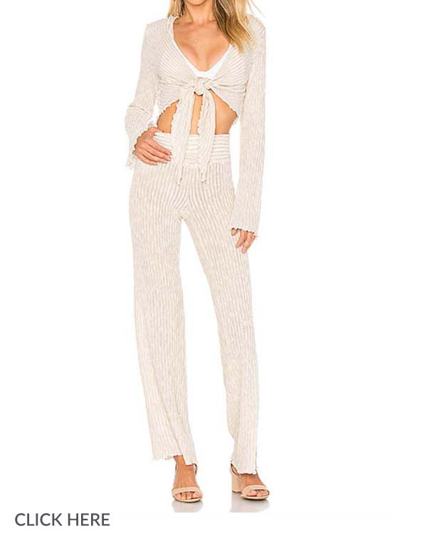 Lauren Nicolle Cream Pant Set Cover Up