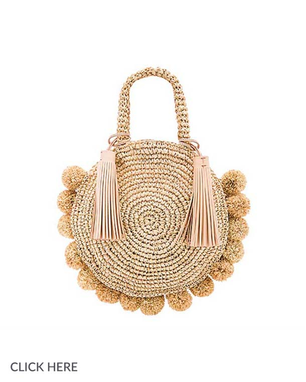 Lauren Nicolle small tan pom bag
